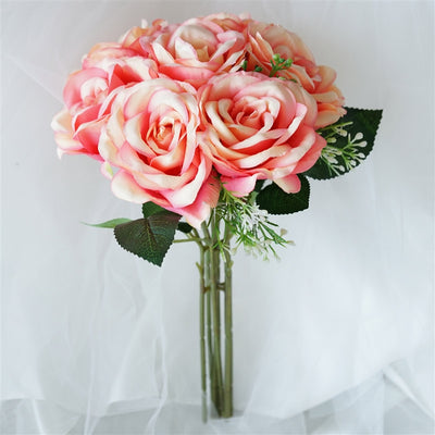 Rose & Baby Breath Assorted Bridal Bouquet Artificial Silk Flowers - Peach