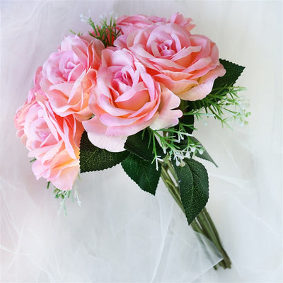 4 Realistic Looking Fabric Flower Bouquet - Pink