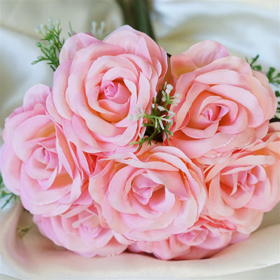 Rose & Baby Breath Assorted Bridal Bouquet Artificial Silk Flowers - Pink
