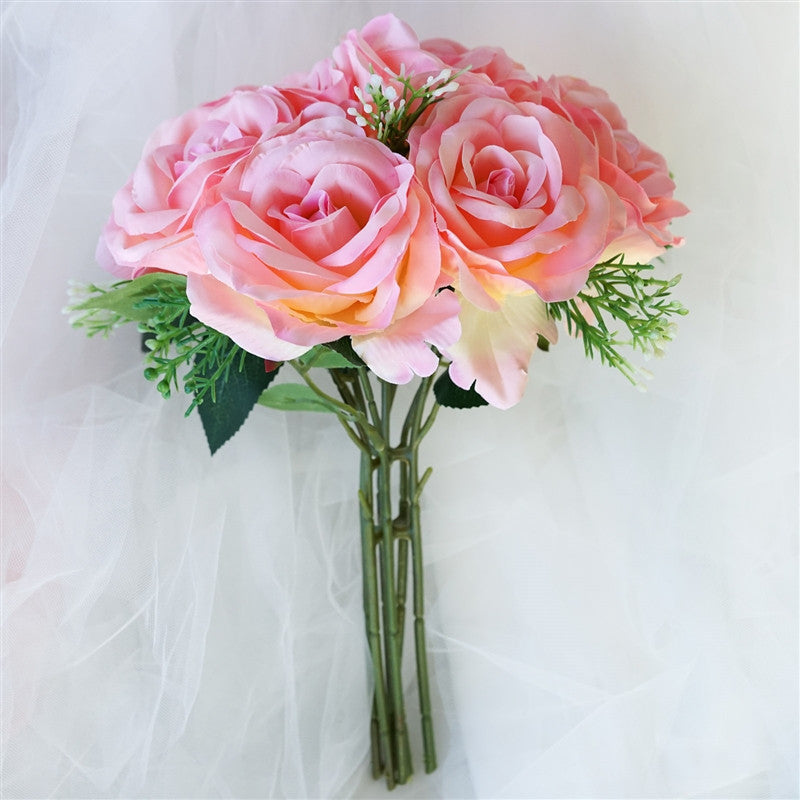 Artificial open rose flowers bridal bouquet wedding
