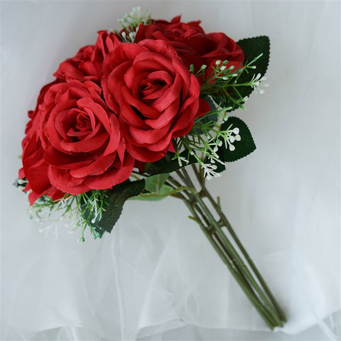 4 Realistic Looking Fabric Flower Bouquet - Red