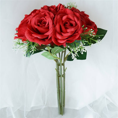 Rose & Baby Breath Assorted Bridal Bouquet Artificial Silk Flowers - Red