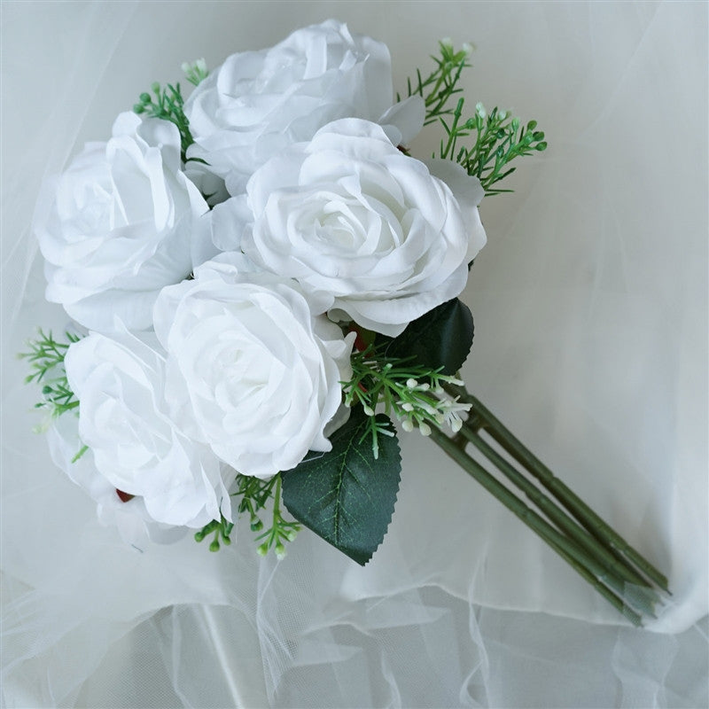 28 Artificial Open Rose Flowers Bridal Bouquet Wedding Vase ...