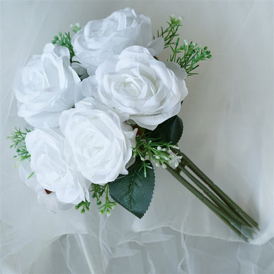28 artificial open rose flowers bridal bouquet wedding vase 4 realistic looking fabric flower bouquet white mightylinksfo