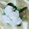 Rose & Baby Breath Assorted Bridal Bouquet Artificial Silk Flowers - White