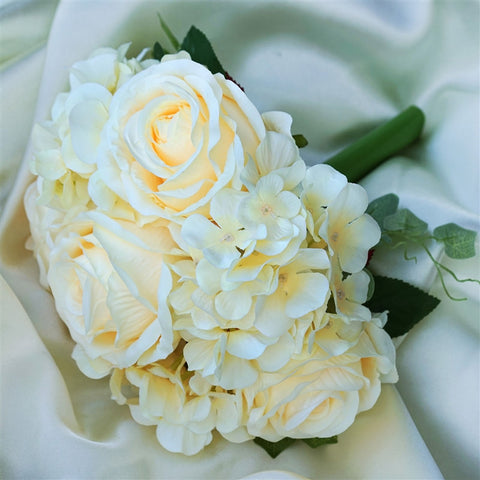 Beige Real Touch Artificial Rose & Hydrangea Flower Wedding Bridal Bouquet - Buy 1 Get 3 Free