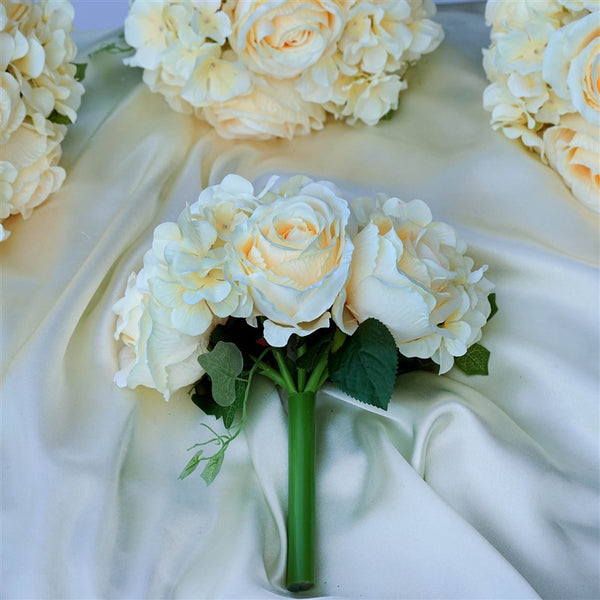 Rose & Hydrangea Bouquet Artificial Silk Flowers - Beige