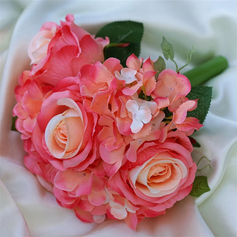 Coral Real Touch Artificial Rose & Hydrangea Flower Wedding Bridal Bouquet - Buy 1 Get 3 Free