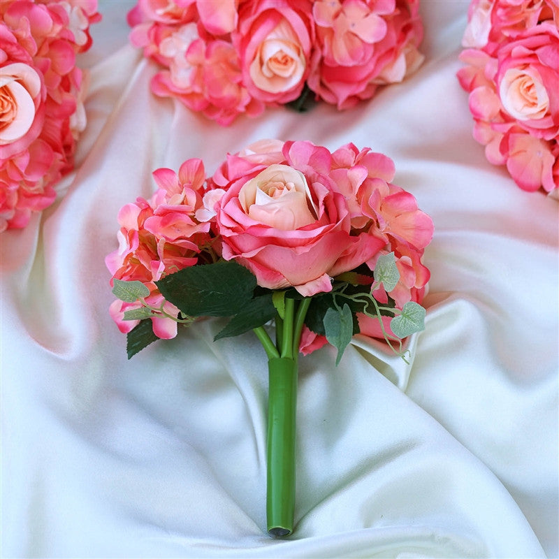 Coral Real Touch Artificial Rose & Hydrangea Flower Wedding Bridal ...