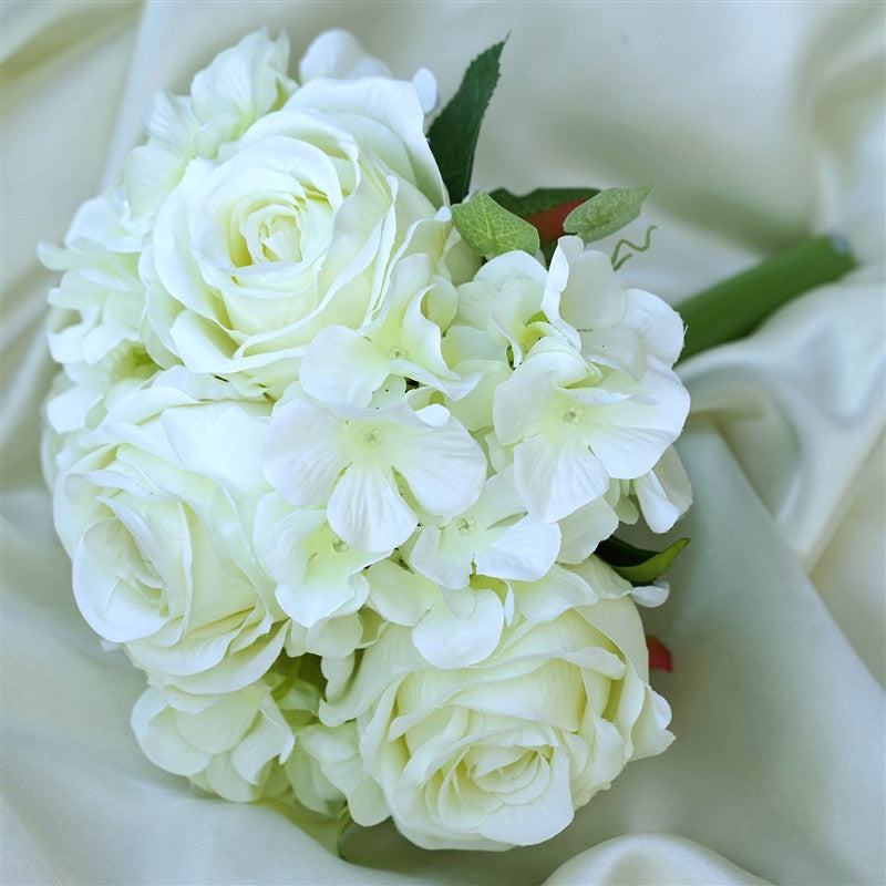 Cream real touch artificial rose hydrangea flower wedding bridal cream real touch artificial rose hydrangea flower wedding bridal bouquet buy 1 get 3 mightylinksfo