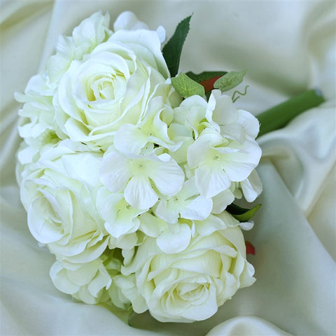 Cream Real Touch Artificial Rose & Hydrangea Flower Wedding Bridal Bouquet - Buy 1 Get 3 Free