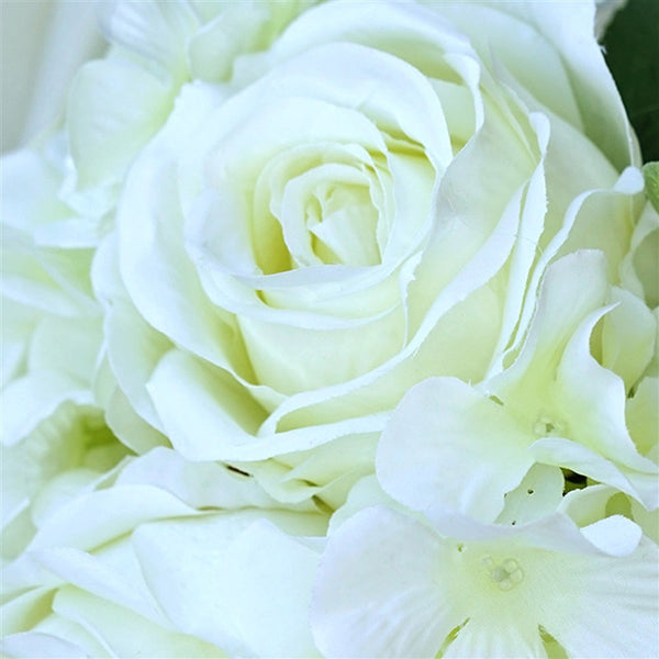 Cream Real Touch Artificial Rose & Hydrangea Flower Wedding Bridal ...