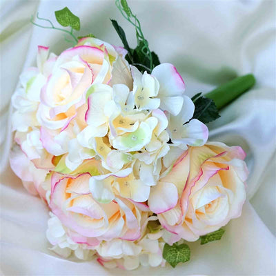 Pink real touch artificial rose hydrangea flower wedding bridal pink real touch artificial rose hydrangea flower wedding bridal bouquet buy 1 get 3 mightylinksfo