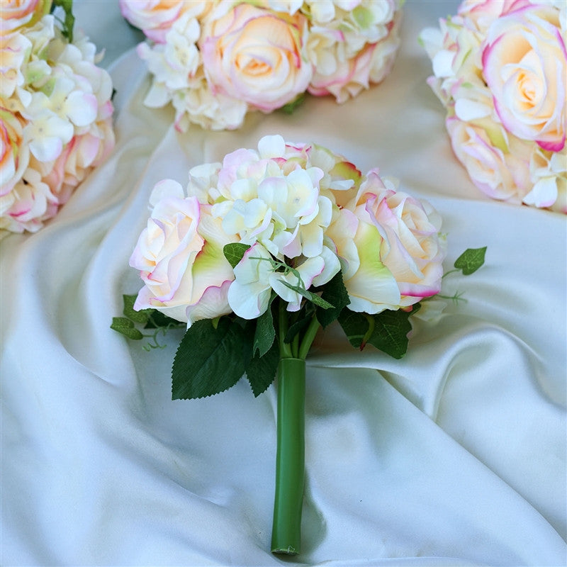 Pink Real Touch Artificial Rose & Hydrangea Flower Wedding Bridal ...