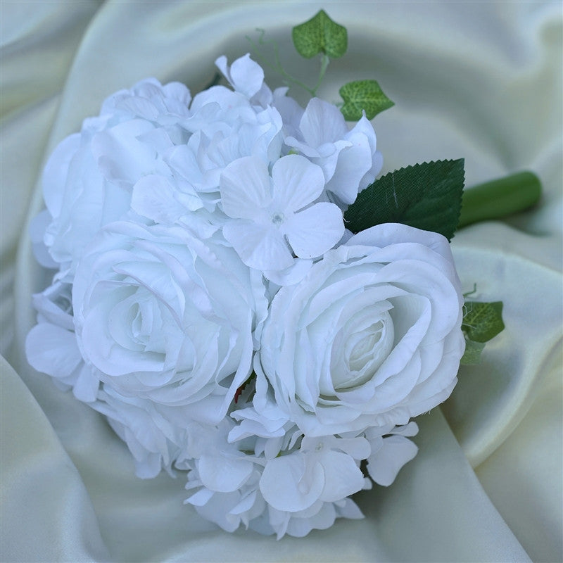 White real touch artificial rose hydrangea flower wedding bridal white real touch artificial rose hydrangea flower wedding bridal bouquet buy 1 get 3 mightylinksfo