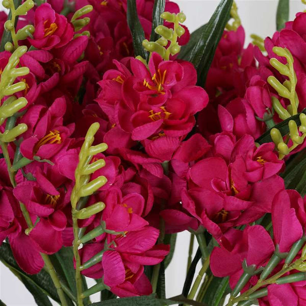 Freesia Bush Artificial Silk Flowers - Fuchsia