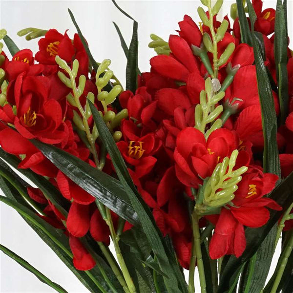 Freesia Bush Artificial Silk Flowers - Red