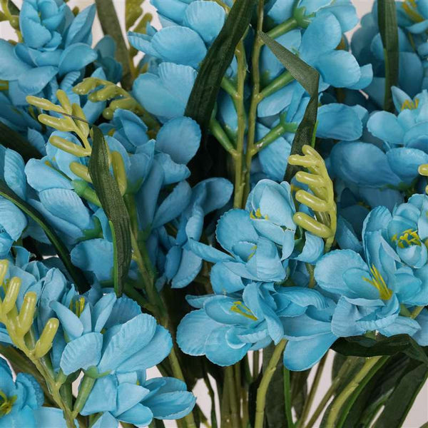 Freesia Bush Artificial Silk Flowers - Turquoise