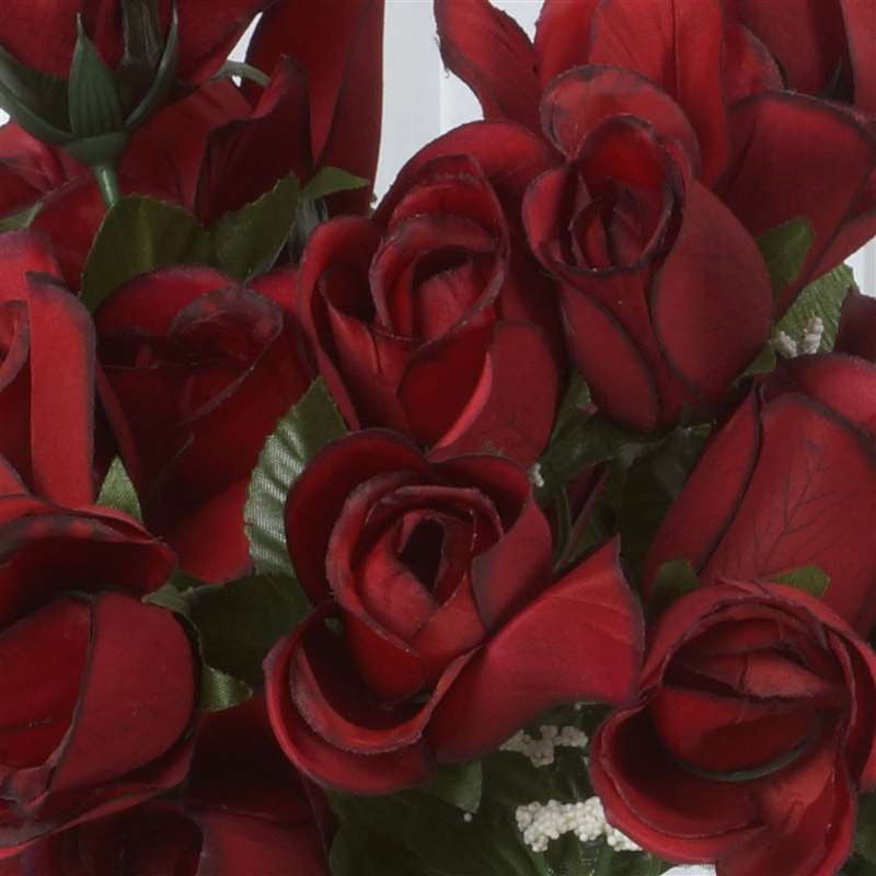 84 Wholesale Artificial Velvet Rose Buds Wedding Vase Centerpiece Decor - Black/Red