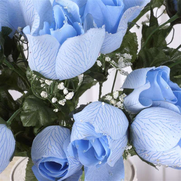 Small Velvet Rose Bud Bush Artificial Flowers - Blue