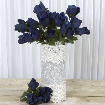 Velvet Rose Buds-Navy Blue -84/pk