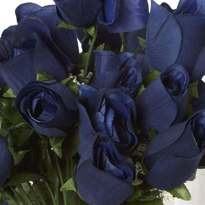Small Velvet Rose Bud Bush Artificial Flowers - Navy Blue