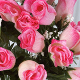 84 Wholesale Artificial Velvet Rose Buds Wedding Vase Centerpiece Decor - Pink