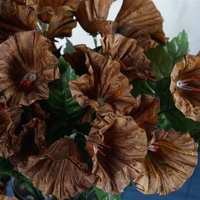 Petunia Bush Artificial Silk Flowers - Chocolate
