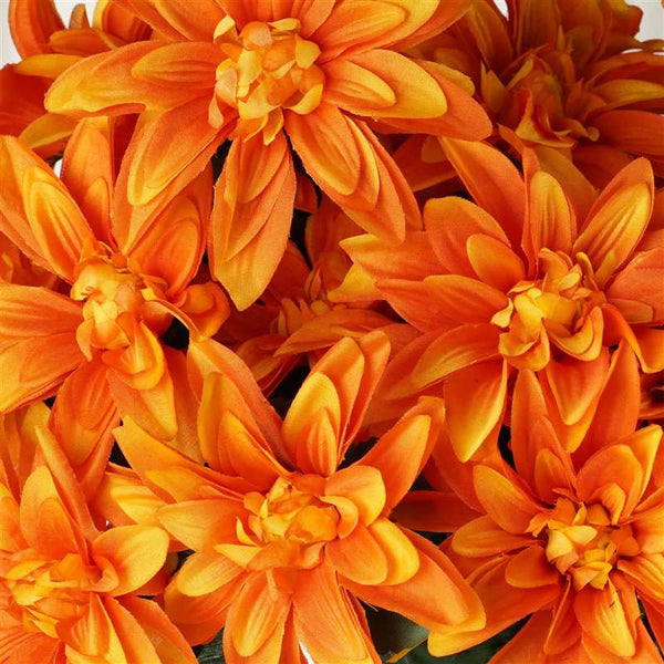 Dahlia Bush Artificial Silk Flowers - Orange