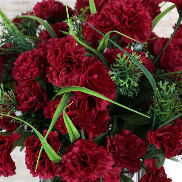 Carnation Assorted Bush Artificial Silk Flowers - Burgundy