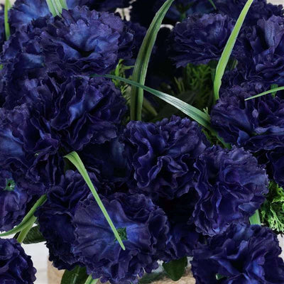 Carnation Assorted Bush Artificial Silk Flowers - Navy Blue
