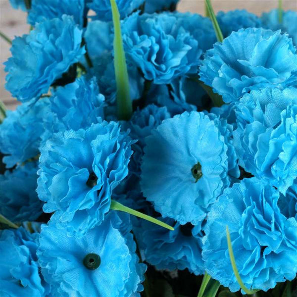 Carnation Assorted Bush Artificial Silk Flowers - Turquoise