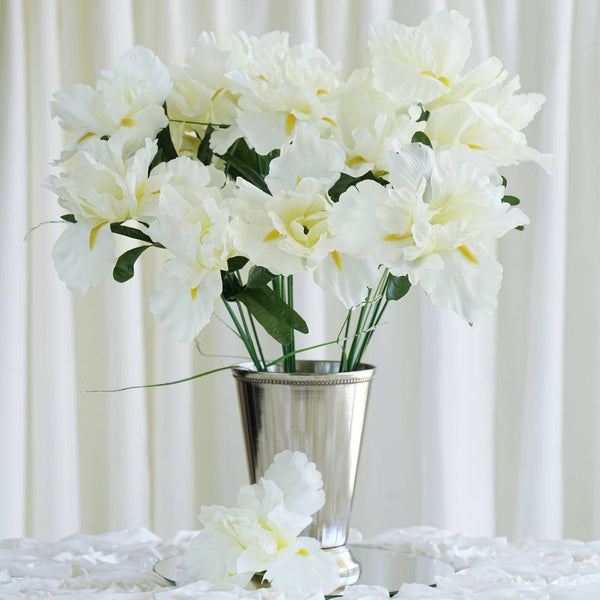 Iris Bush Artificial Silk Flowers - Cream