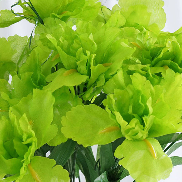 60 Silk Iris Flowers - Lime