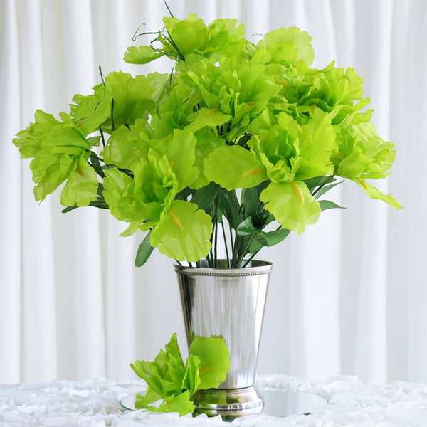 Iris Bush Artificial Silk Flowers - Lime Green