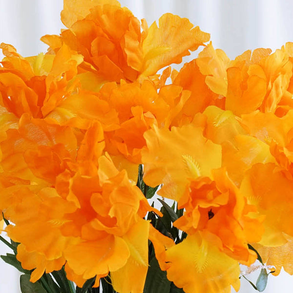 60 Silk Iris Flowers - Orange