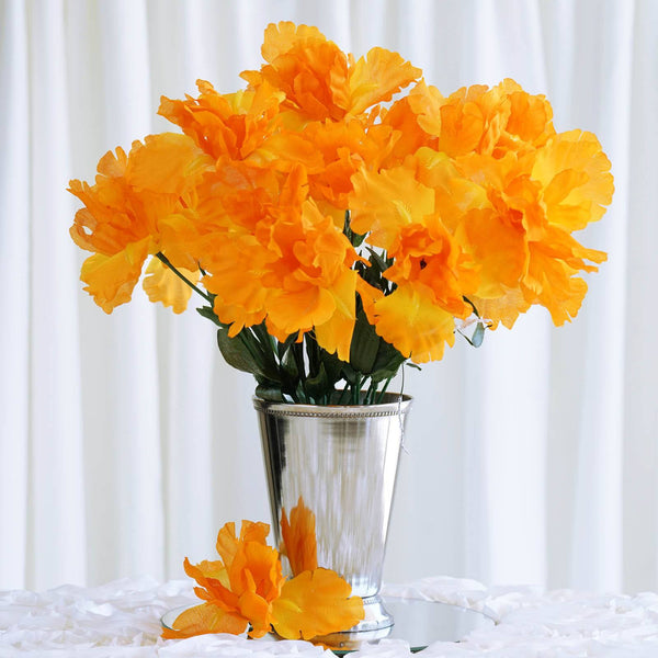 60 Artificial Silk Iris Flowers Wedding Vase Centerpiece Decor - Orange