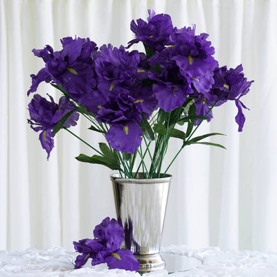 60 Silk Iris Flowers Purple Efavormart