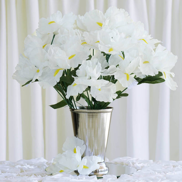 60 Artificial Silk Iris Flowers Wedding Vase Centerpiece Decor - White