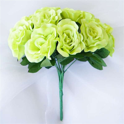 Velvet Rose Bouquet Artificial Flowers- Lime