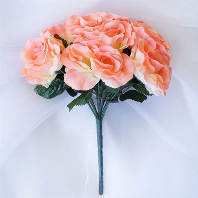 Velvet Rose Bouquet Artificial Flowers- Peach