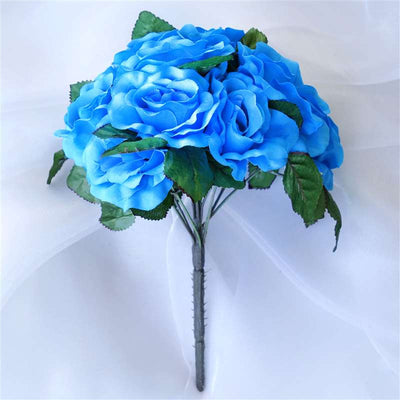 56 Artificial Velvet Rose Flowers Bridal Bouquet Wedding Vase Centerpiece Decor - Turquoise