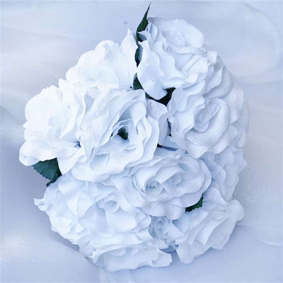 4 Velvet Rose Bouquet - White