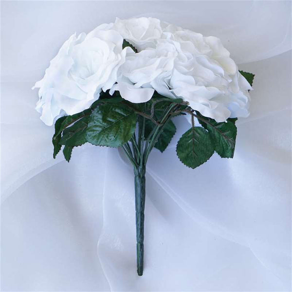56 Artificial Velvet Rose Flowers Bridal Bouquet Wedding Vase Centerpiece Decor  - White