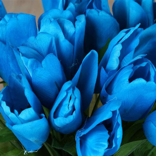 Tulip Bush Artificial Silk Flowers - Turquoise