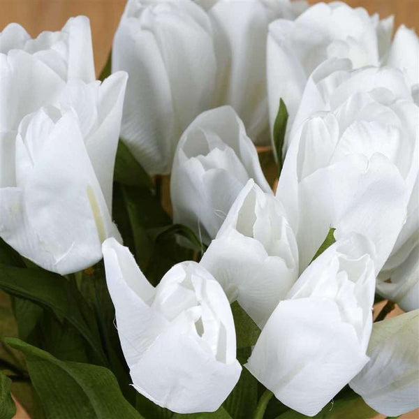 56 Artificial Tulip Flowers Wedding Vase Centerpiece Decor - White