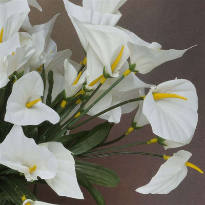 Mini Calla Lily Bush Artificial Silk Flowers - Cream