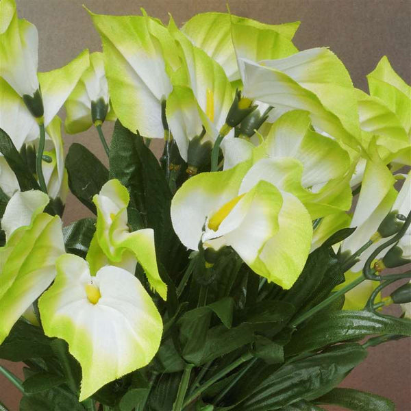 Mini Calla Lily Bush Artificial Silk Flowers - Lime Green