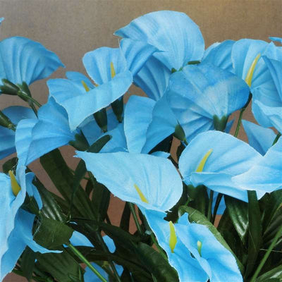 Mini Calla Lily Bush Artificial Silk Flowers - Turquoise