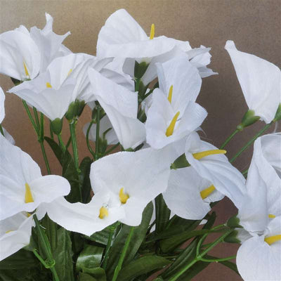 Mini Calla Lily Bush Artificial Silk Flowers - White